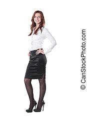 女, .isolated, ビジネス, フルである, 経営者, growth., 白