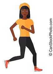 女, jogging., ふざけている