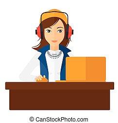 女, laptop., 仕事
