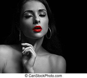 女, lips., 若い, 明るい, 黒, 肖像画, セクシー, 白い赤