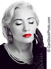 女, lips., 黒, レトロ, 写真, 白い赤