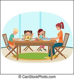 女, livingroom, illustration., モデル, 図画, ベクトル, テーブル, 子供