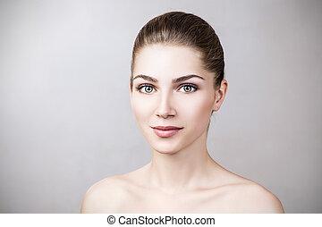 女, make-up., 若い, なしで, きれいにしなさい, 皮膚
