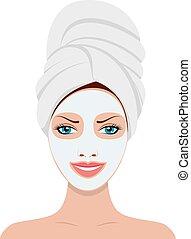 女, mask., 化粧品, 顔