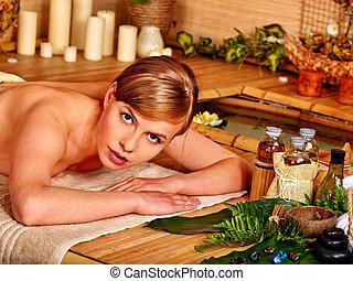 女, massage., 得ること, 香り