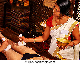 女, massage., ayurvedic, フィート, エステ, 持つこと