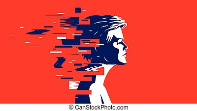 女, mindfulness, イラスト, 動的, 主題, ∥あるいは∥, 哲学, プロフィール, 微片, ベクトル, concept., 心理学, 心理上である, 動き, glitch, ネットワーク, 神経, 技術