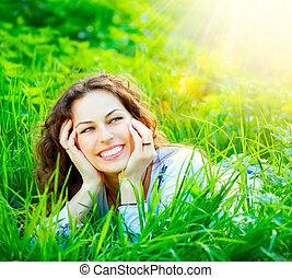 女, outdoors., 楽しみなさい, 若い, 自然