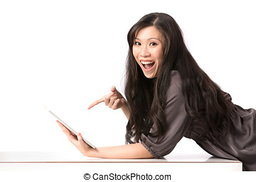 女, pc, アジア人, 使うこと, touch-screen, 幸せ