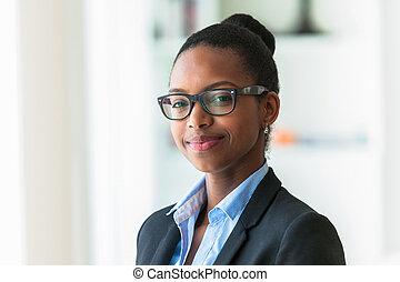 女, peop, ビジネス, -, 若い, アメリカ人, 黒, アフリカ, 肖像画