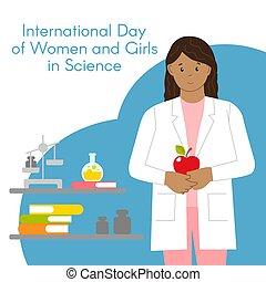 女, physicist., バックグラウンド。, ベクトル, 平ら, 女性, science., 科学者, style., インターナショナル, apple., 白, イラスト, 物理学者, 日, 女の子, 隔離された