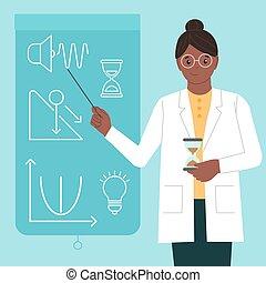 女, physicist., isolated., ベクトル, 平ら, 女性, science., 科学者, アップル, style., インターナショナル, pointer., イラスト, 物理学者, 日, 女の子