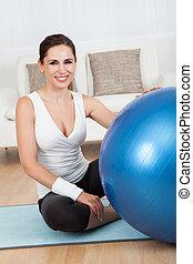 女, pilates, ボール, 幸せ