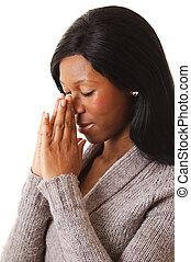 女, prayering