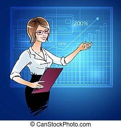 女, presentation., ビジネス