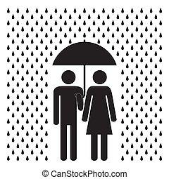 女, rain., 人, 下に