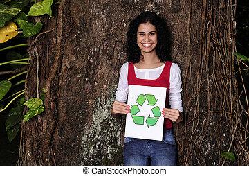 女, recycling:, 印, 森林, 保有物, リサイクルしなさい