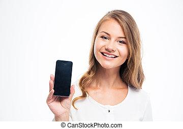 女, smartphone, ディスプレイ, 提示, ブランク