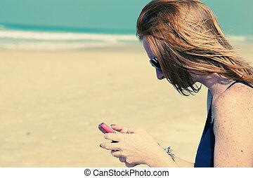 女, smartphone, 若い, 保有物