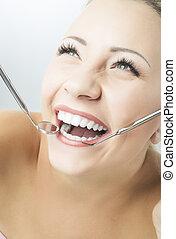 女, spatula., 縦, 健康, イメージ, 歯科医, 鏡, 肖像画, 微笑, 構成