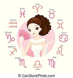 女, tarot, fortuneteller, サイン, 黄道帯, カード