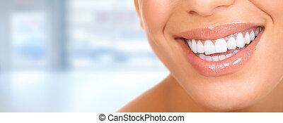 女, teeth., 美しい