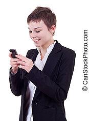 女, texting, ビジネス