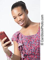 女, texting, 若い, 電話, 間, 驚き, メッセージ