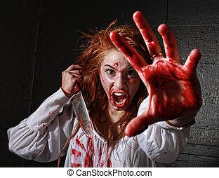 女, themed, 出血, 恐怖, 怖がらせられた, イメージ