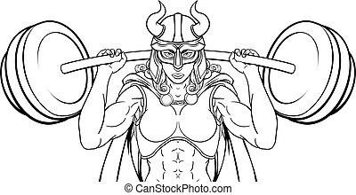 女, viking, weightlifter, 戦士, 持ち上がること, バーベル