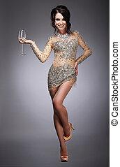 女, wineglass, 保有物, 素晴らしい, シャンペン, 幸せ