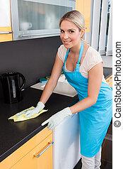 女, worktop, 清掃