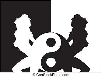 女, ying, シルエット, yang