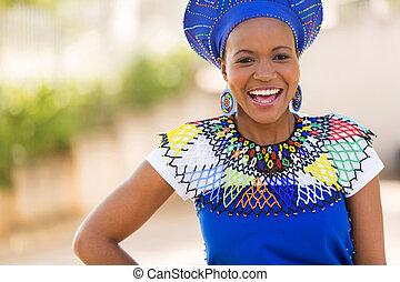 女, zulu, 若い, アフリカ, 笑い