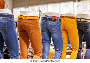 奶嘴, 圖像, 在, 牛仔褲, 站立, 商店