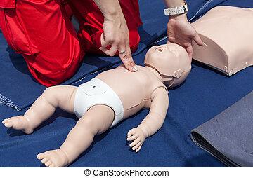 奶嘴, 嬰儿, 首先,  cpr, 幫助