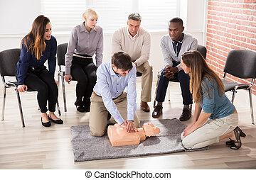 奶嘴, 訓練, 顯示, 幫助,  cpr, 教師, 首先