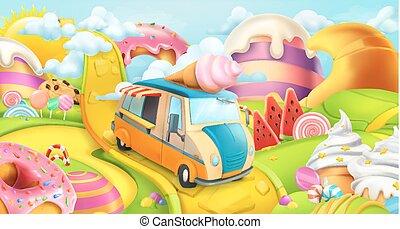 奶油, 甜, 冰, 矢量, 糖果, 背景, truck., land., 3d
