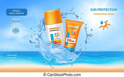 奶油, sunscreen, 3d, skincare, 管子, 做廣告, 洗劑, 現實, 水, containers., splash.