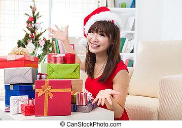 她, 亞洲人, 家, 女孩, 圣誕節慶祝
