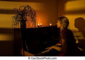她, 戲劇, the, 鋼琴