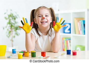 她, 手掌, 涂描, 覆盖, 乐趣, 女孩, 有