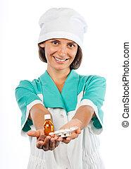 她, 扣留手, 醫學, 護士, 微笑
