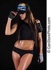 她, 是, always, 在, 好, 形狀。, 美麗, 年輕, 運動, 婦女藏品, a, 帽子, 當時, 站立, 上, 黑色的背景