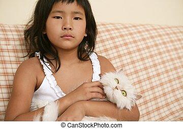 她, 武器, 猫, 波斯人, 亚洲的女孩, 白色