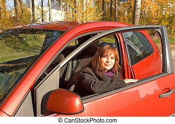 她, 汽車, 年輕, 紅色, 船艙, 婦女