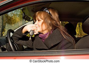 她, 汽車, 年輕, 紅色, 鑰匙, 船艙, 婦女