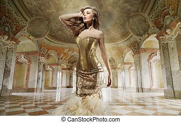好的藝術, 相片, ......的, a, 年輕, 時裝, 夫人, 在, a, 時髦, 內部