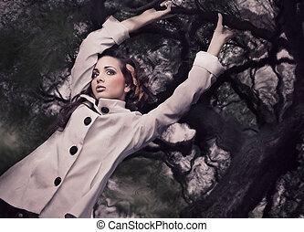 好的藝術, 風格, 相片, ......的, a, 華麗, 黑發淺黑膚色女子, 藏品, 分支