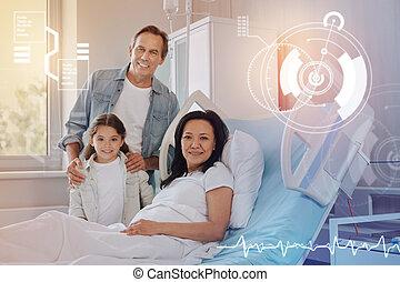 好, 圖片, ......的, a, 友好, 家庭, 微笑, 在, a, 現代, 醫院